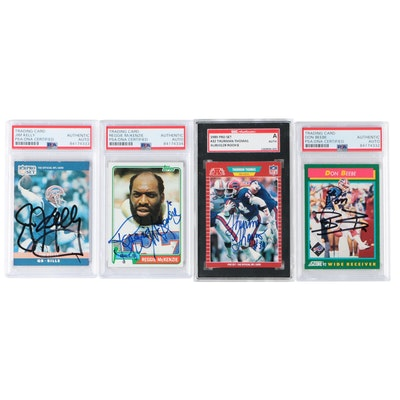 Signed NFL Great PSA Graded Football Cards Including Thurman Thomas Rookie Card