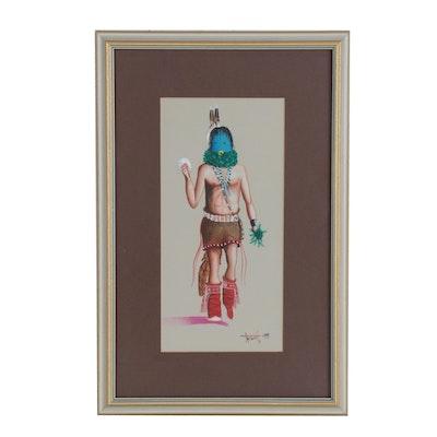 Richard Taliwood Gouache Painting of Kachina Dancer