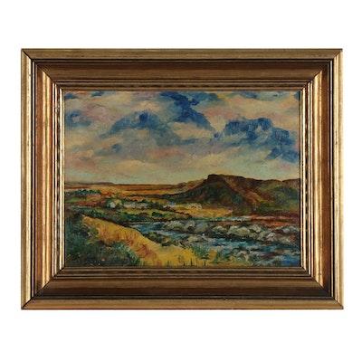 Western Landscape Oil Painting, 1948