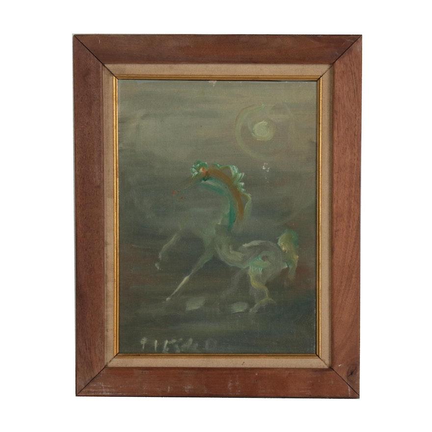 Pietro Lazzari Oil Painting of Rearing Horse, Circa 1963