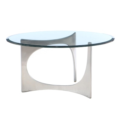 Contemporary Modern Glass Top Chrome Base Coffee Table, Contemporary