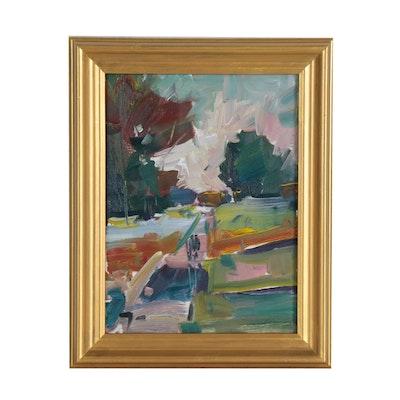 "Jose Trujillo Oil Painting ""Quiet Walk"", 2019"
