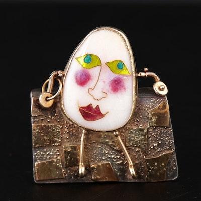 Sterling Silver, 18K Yellow Gold and 14K Yellow Gold Humpty Dumpty Brooch