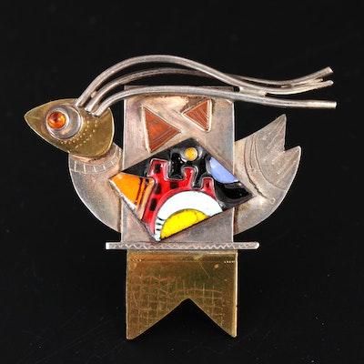 Sara Coast Sterling Silver, Brass and Copper Bird Brooch