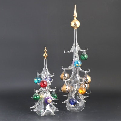 Venetian Hand-Blown Art Glass Christmas Trees with Ornaments