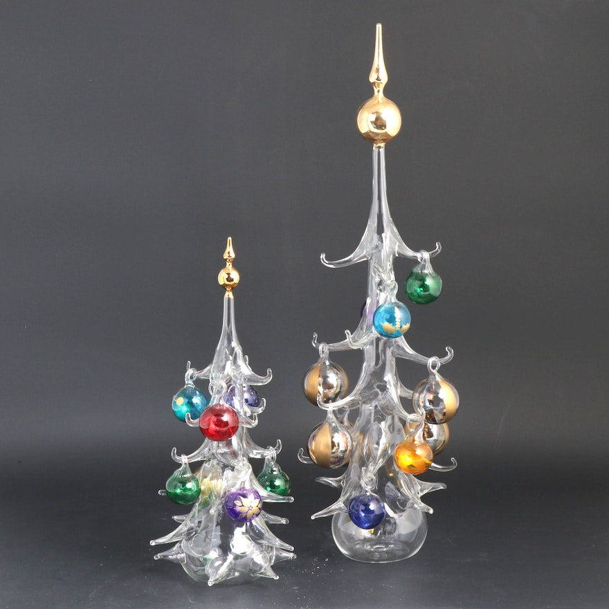 Venetian Hand-Blown Art Glass Christmas Trees with ...