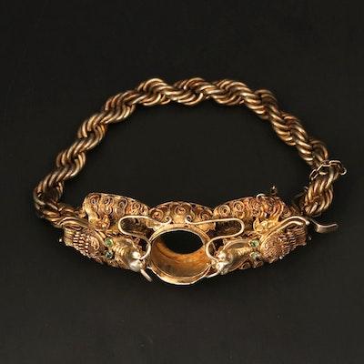 Vintage Sterling Silver Facing Dragon Heads Chain Link Bracelet