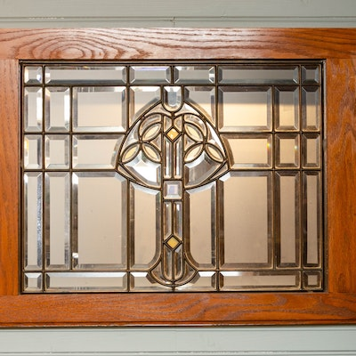 Art Nouveau Style Lead Stained Glass Panel, Mid to Late 20th Century