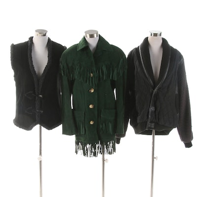 Cedars Fringed Suede Jacket and Other Suede Toggle Vest and Leather Trim Jacket