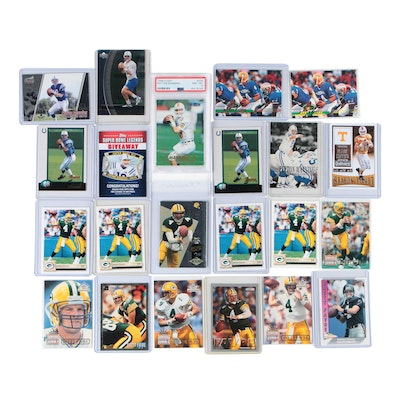 Manning and Favre Rookie and Vintage Cards with PSA Graded Manning Rookie Card