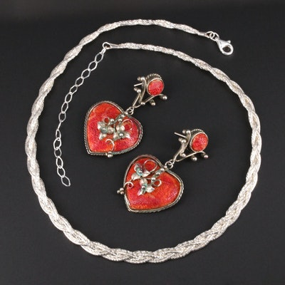 Sterling Silver Coral Heart Earrings and Braided Chain