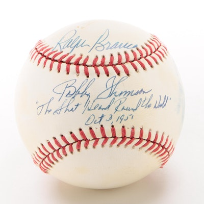 Ralph Branca and Bobby Thomson Signed and Inscribed NL Baseball  COA