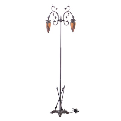 Art Nouveau Style Amber Glass Bronze Finish Floor Lamp, Late 20th Century