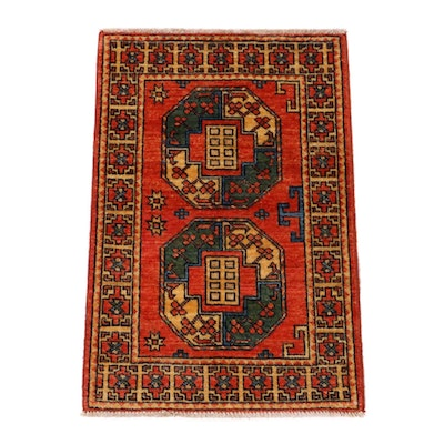 2' x 3'1 Hand-Knotted Afghani Turkoman Rug, 2010s