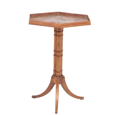 Mahogany Hexagonal Pie Crust Pedestal Table, Early 20th Century