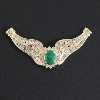 14K Yellow Gold Emerald and Diamond Fixed Pendant