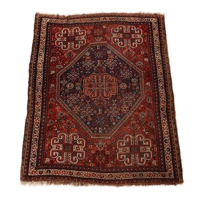 4'1 x 5'3 Hand-Knotted Persian Qashqai Shiraz Rug, 1920s