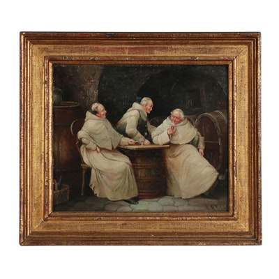 Genre Scene Oil Painting of Friars Imbibing, 19th Century