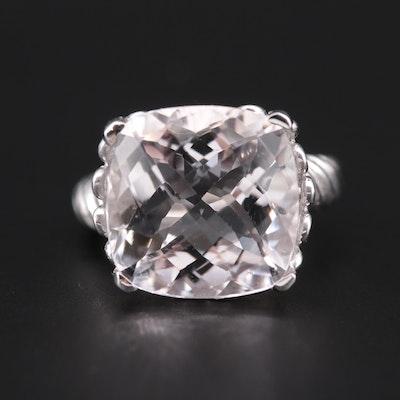 10K White Gold Rose Quartz Ring