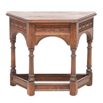 English Tudor Style Oak Occasional Table, Mid to Late 20th Century