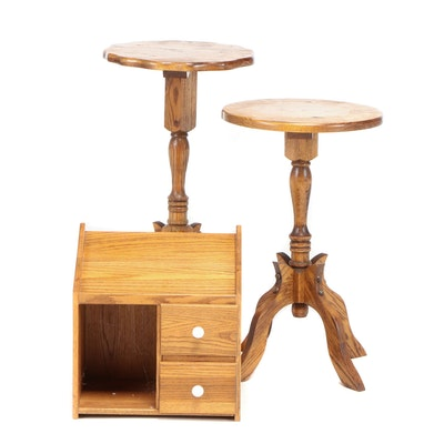Oak Pedestal Plant Stands and Drawer Front Cabinet, Late 20th Century