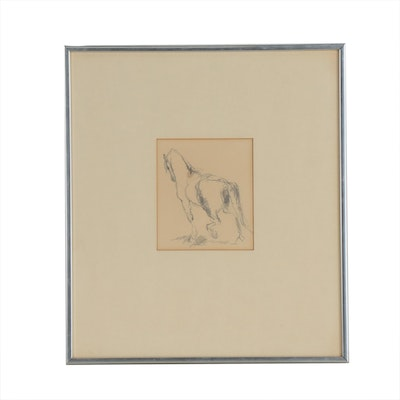 Graphite Horse Study, Mid to Late 20th Century