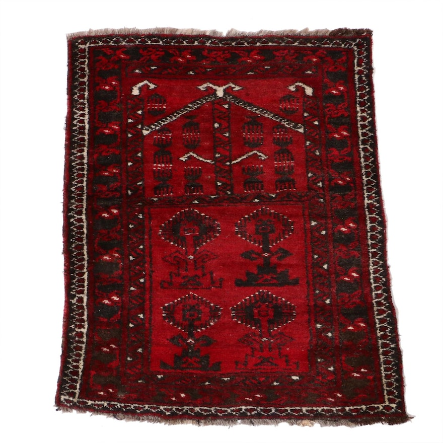 2'5 x 3' Hand-Knotted Persian Balouch Rug, 1920s