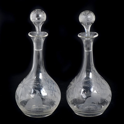 Bohemian Etched Glass Decanters with Heron Motif, Early 20th Century