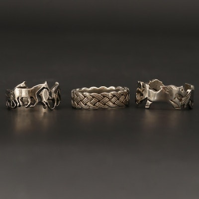 Sterling Silver Horse Motif and Woven Motif Rings