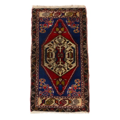 1'11 x 3'9 Hand-Knotted Turkish Village Rug, 1930s