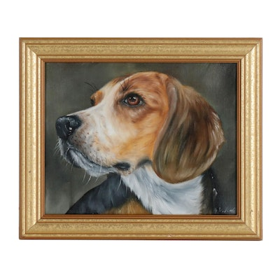 Joseph Veillette Oil Painting of Beagle