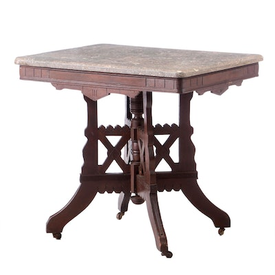 Victorian Eastlake Mahogany Marble Top Occasional Table, Late 19th Century