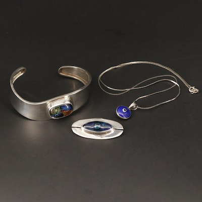 Sterling Silver Dichroic Glass and Glass Cuff Bracelet, Necklace, and Pendant