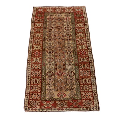 3'10 x 7'1 Hand-Knotted Turkish Caucasian Rug, 1950s