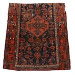 3'7 x 4'1 Hand-Knotted Persian Karaja Rug, 1900s
