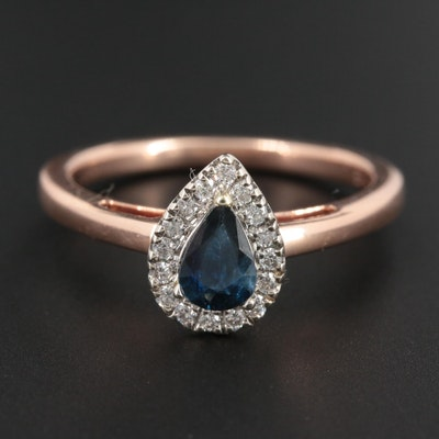 14K Rose Gold Sapphire and Diamond Ring With with 14K White Gold Head