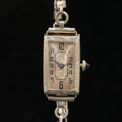 Vintage Buren 14K White Gold Stem Wind Wristwatch