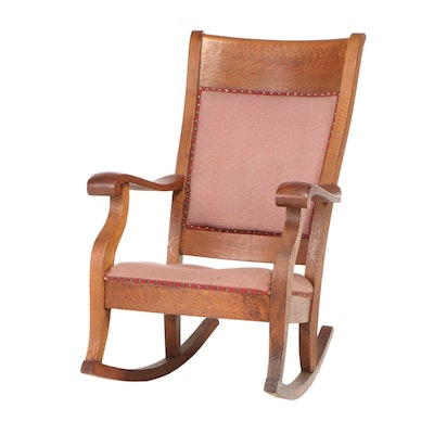 Taylor Chair Company Oak Upholstered Rocking Chair, Early 20th Century