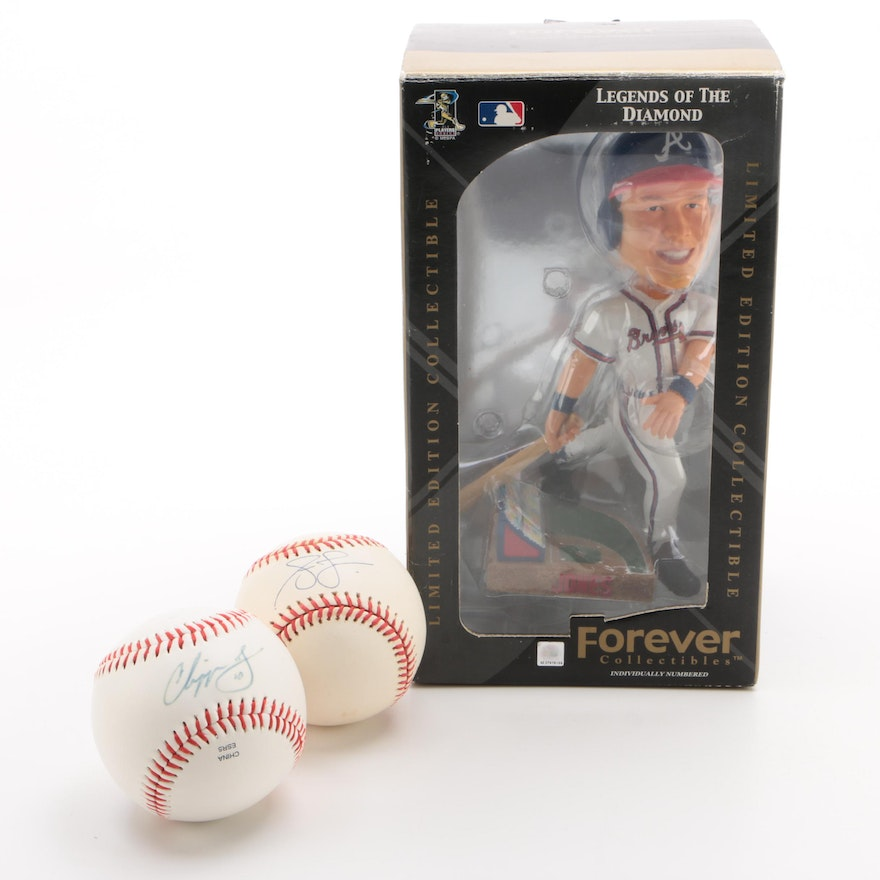 Chipper and Andruw Jones Signed PSA/DNA Baseballs with Forever Bobblehead