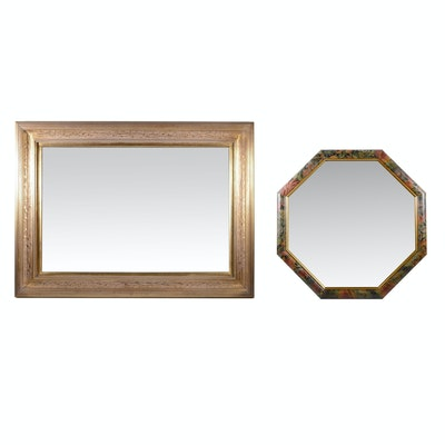Gold Washed Beveled Rectangular Mirror and Floral Octagonal Mirror, Contemporary