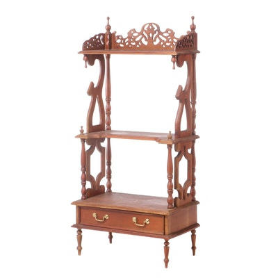 Victorian Style Carved Hardwood Three-Tier Whatnot, Late 20th Century