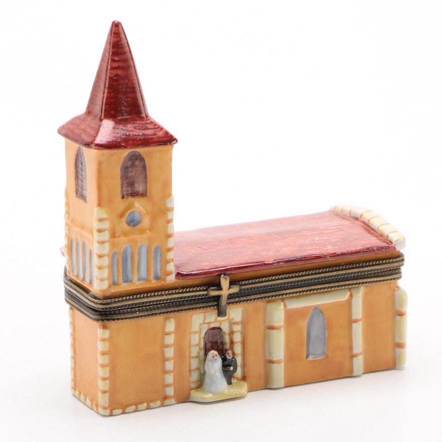 "B.R.C. Limoges ""Bride and Groom"" Hand-Painted Porcelain Trinket Box"