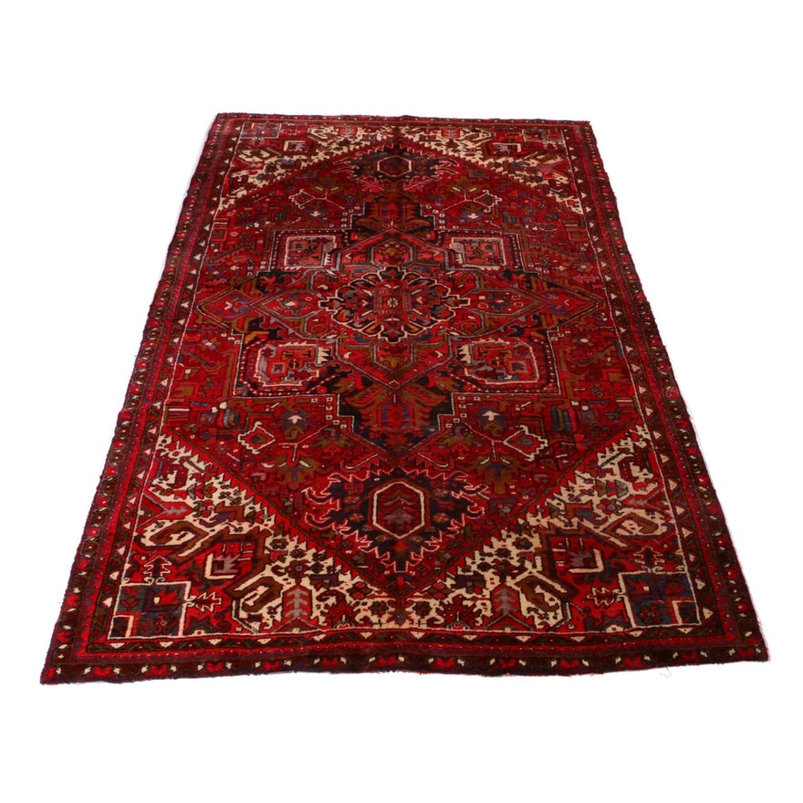 7'6 x 11'8 Hand-Knotted Persian Heriz Rug, 1950s