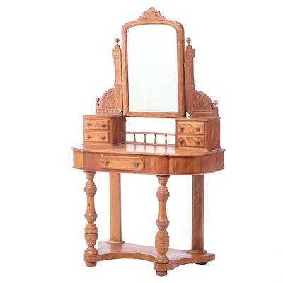 Victorian Walnut Dresser with Glove Boxes and Mirror, 19th Century