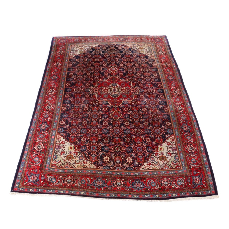 7'4 x 11'2 Hand-Knotted Persian Mahal Rug, 1960s