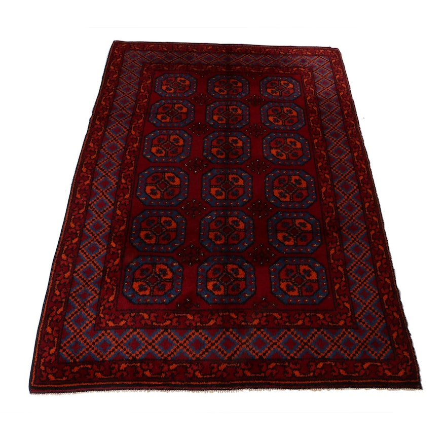 7' x 10'3 Hand-Knotted Moroccan Rug, 1950s