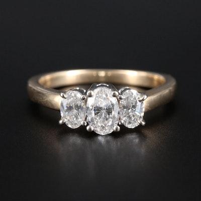 14K Yellow Gold Diamond Trinity Ring