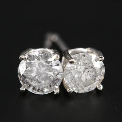 14K White Gold 1.21 CTW Diamond Stud Earrings