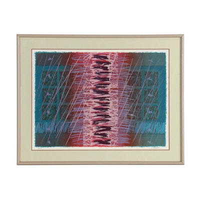 "E. Platt Abstract Serigraph ""Chauange"", Late 20th Century"