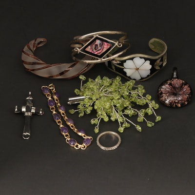 Assorted Bracelets, Brooch, Ring and Pendants With Amethyst, Peridot and Abalone